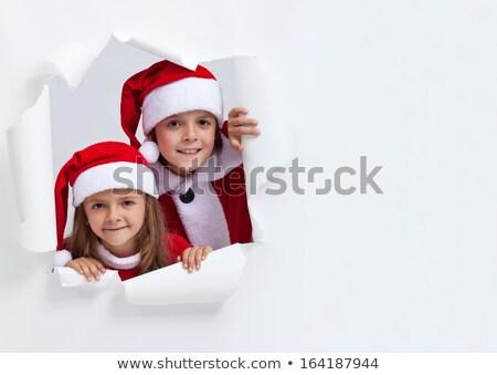 twarz · patrząc · otwór · papieru · dziecko · biały - zdjęcia stock © ilona75
