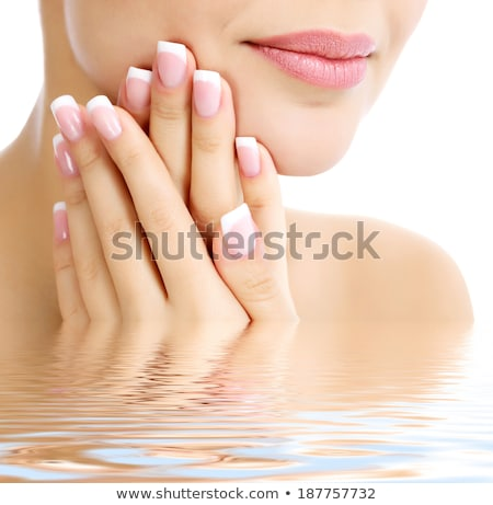 Part of female face and hands, white background, copyspace stock photo © Nobilior