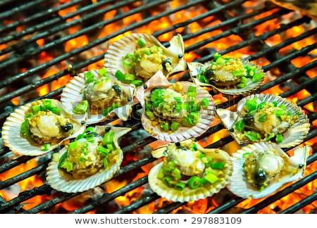 морепродуктов · гриль · вечеринка · огня · саду · дым - Сток-фото © frameangel