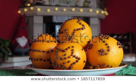 Laranja decorado fruto natal sobremesa Foto stock © M-studio