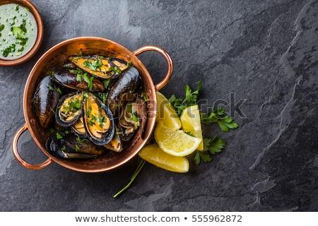 mussel on dark slate background Stock photo © kirpad