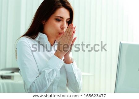 Młodych kobieta interesu uczucie biuro pracy laptop Zdjęcia stock © deandrobot