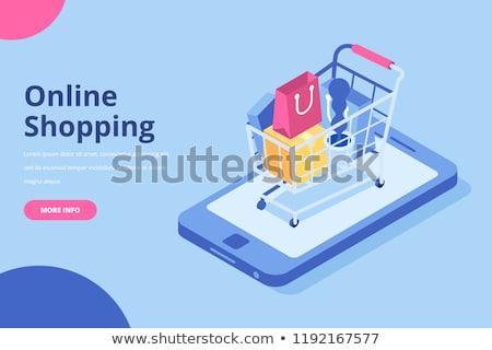 Shopping Cart blue Vector Icon Design Stock photo © rizwanali3d