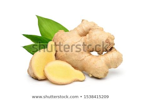 Foto stock: Fresco · gengibre · raiz · isolado · branco · comida