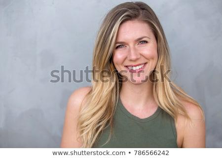Alegre jovem loiro mulher vestido vermelho Foto stock © acidgrey