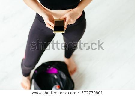 Kobieta fitness stałego worek portret odizolowany Zdjęcia stock © deandrobot