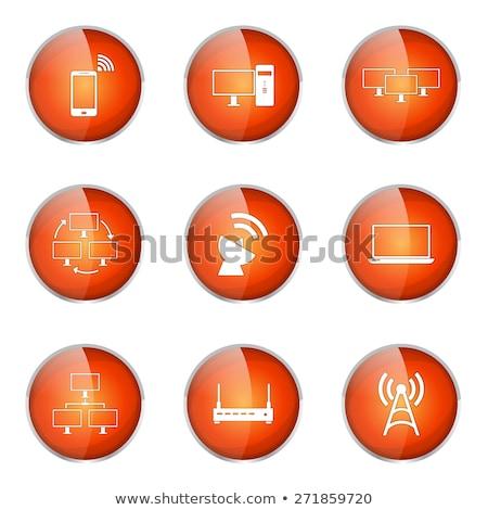 arancione · radio · lucido · pulsante · isolato · bianco - foto d'archivio © rizwanali3d