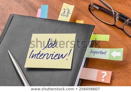 sollicitatiegesprek · bericht · koffie · boek · werk · pen - stockfoto © fuzzbones0
