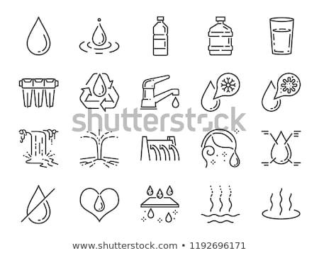 Glas water lijn icon web mobiele Stockfoto © RAStudio