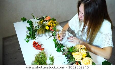 Ogrodnik opieki roślin zauważa Zdjęcia stock © deandrobot
