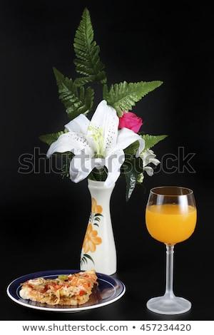 Stock photo: Mini pizza and orange juice