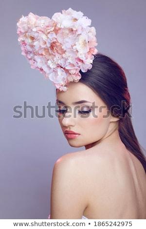 Stockfoto: Portret · jonge · bloem · blond · sexy