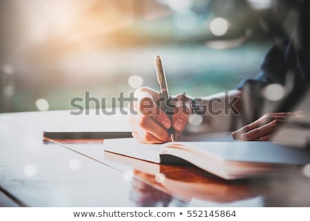 stack of papers with writing hand Stock photo © Panaceadoll