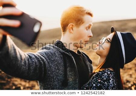 Vista lateral mulher namorado café homem Foto stock © deandrobot