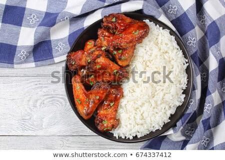 Barbecue tyúk szárnyak rizs édes fűszeres Stock fotó © Digifoodstock
