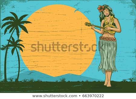 menina · ilustração · praia · flor · feliz · viajar - foto stock © adrenalina
