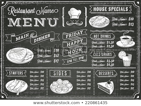 Tablicy menu restauracji kucharz ukrywanie za Zdjęcia stock © Fisher