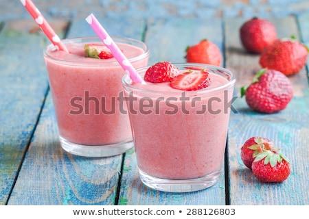 клубника · синий · продовольствие · фон · молоко · еды - Сток-фото © g215
