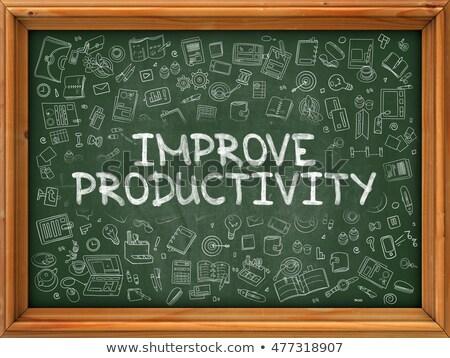 productivité · main · bouton · interface · bleu - photo stock © tashatuvango