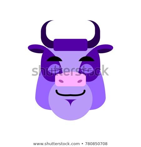 Purple Cow sleep Emoji. Bull Head asleep emotion Stock photo © popaukropa