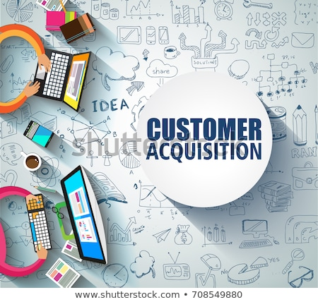 Customer Acquisition concept with Doodle design style:people int Stock photo © DavidArts