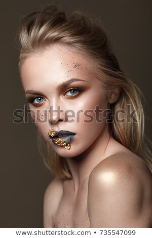 beauty blond woman with gold creative make up Stock photo © iordani