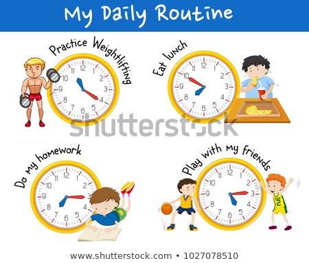Daily routine for different people with yellow clocks Stock photo © bluering