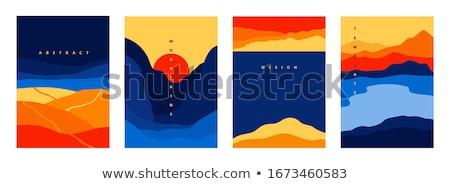 Dizayn deniz dağlar örnek ağaç manzara Stok fotoğraf © bluering