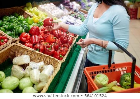 Harang paprikák piros paprika élelmiszerbolt vásár étel Stock fotó © dolgachov