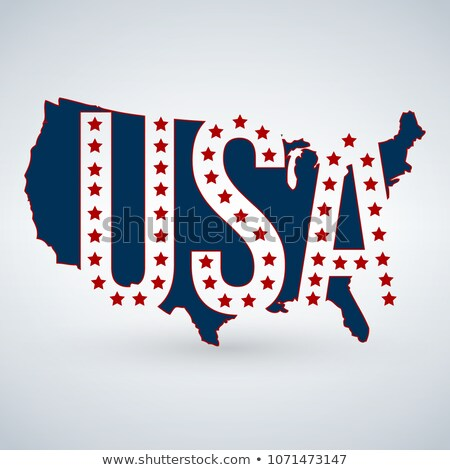 Stock photo: US logo or icon with USA letters across the map and 50 stars, United States of America. Vector illus