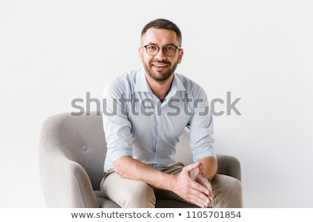 Image of adult director man 30s in formal clothes working on com Stock photo © deandrobot
