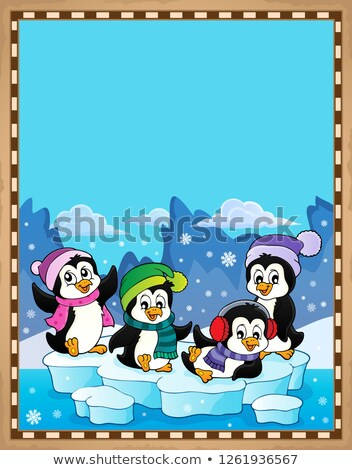 Happy winter penguins topic parchment 1 Stock photo © clairev