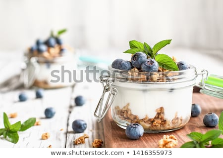 adag · házi · készítésű · granola · kék · tál · tej - stock fotó © homydesign
