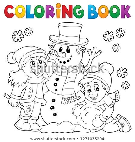coloring book kids building snowman 1 stock photo © clairev
