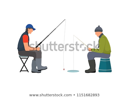 Seduta parlando hobby pesca persone asta Foto d'archivio © robuart