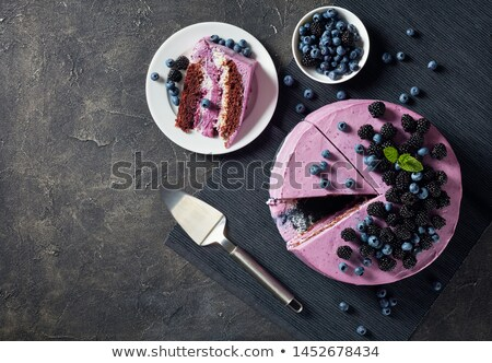 lezzetli · böğürtlen · kek · glasaj · şekeri · tatil · parti - stok fotoğraf © yuliyagontar