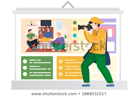 photographer taking pictures happy family posters stock photo © robuart