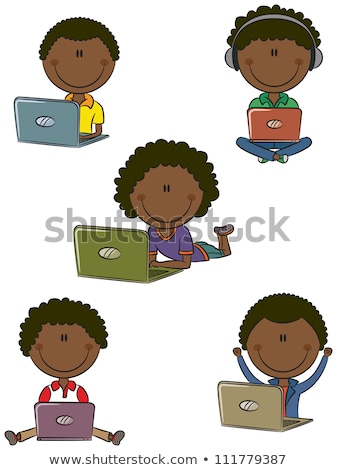 いたずら書き 子供 作業 コンピュータ 実例 少女 ストックフォト © colematt