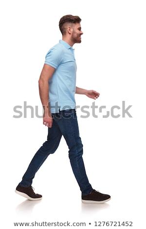 jóképű · lezser · férfi · visel · póló · kék - stock fotó © feedough