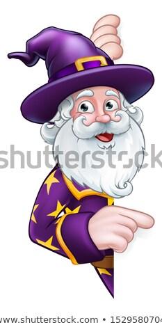 Cartoon Wizard Sign Stock photo © cthoman