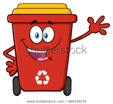 Happy Red Recycle Bin Cartoon Character Stock photo © hittoon