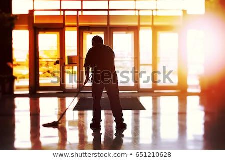 Férfi gondnok padló érett takarítás ház Stock fotó © AndreyPopov