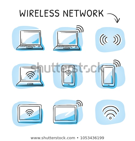 Stock photo: Cloud technology and mobile devices hand drawn outline doodle icon set.