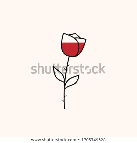 Stilize şarap kadehi gül ikon vektör dizayn Stok fotoğraf © blaskorizov