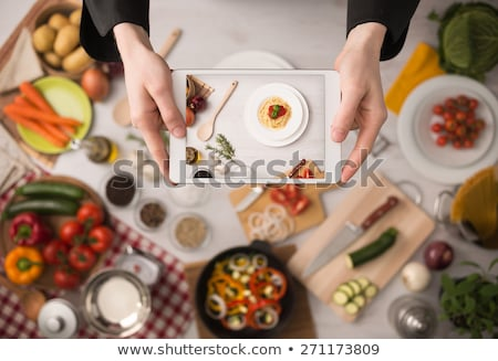 healthy food with tablet on a wooden background stock photo © ra2studio