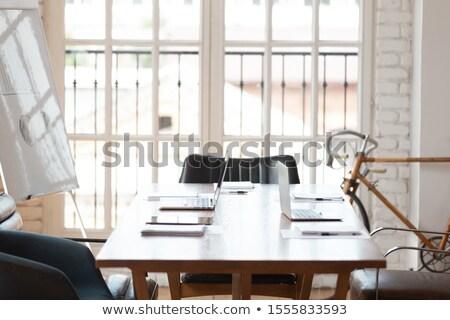 Neue Notebook Büro Innenraum weiß Möbel Stock foto © artjazz