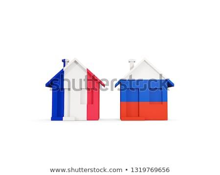 Due case bandiere Russia Francia isolato Foto d'archivio © MikhailMishchenko
