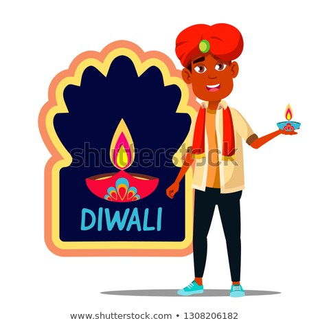 Indian Child Boy In Turban With Diwali Banner Vector. Isolated Illustration Stock photo © pikepicture