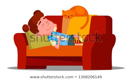Tired Little Girl Sleeping On The Couch Next To Sleeping Cat Vector. Isolated Illustration Stock photo © pikepicture