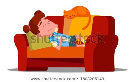 ストックフォト: Tired Little Girl Sleeping On The Couch Next To Sleeping Cat Vector Isolated Illustration